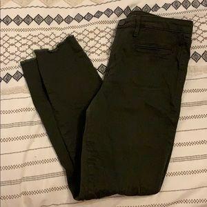 Olive Green Maison Jules Frayed Hem Skinny Jeans
